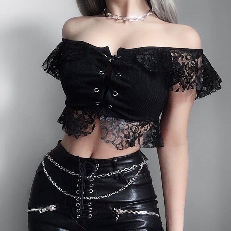 JieZuoFang Goth Dark Black Lace T-shirts Mesh Hollow Out Hole Crop Top Gothic Sexy   Transparent Patchwork Slash Neck T-shirt