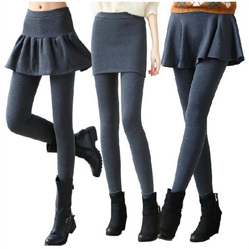 WKOUD 1 Piece 2018 Women's   Leggings   Solid Skirt With Pants Casual Skinny Autumn Footless   Legging   Female Pencil Pants DD8237