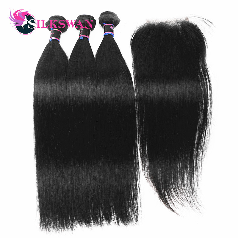Silkswan Hair Brazilian Hair Straight 100 Remy Human Hair 3 Bundles With Lace Closure 28 Inch
