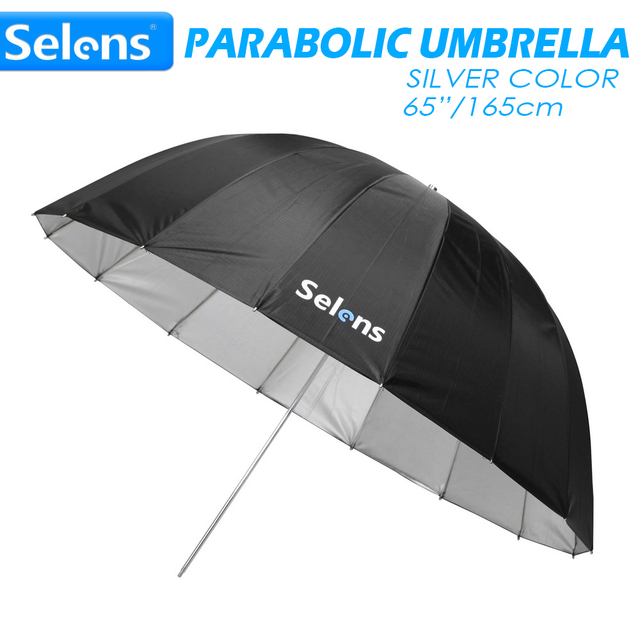 "Selens 65 ""165 cm Parabolic עמוק רעיוני מטריית כסף צבע עבור Speedlite סטודיו תאורה עקיפה w/נשיאת תיק"