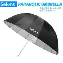 """Selens 65 """"165 cm Parabolische Diepe Reflecterende Paraplu Zilver Kleur voor Speedlite Studio Flash Indirecte Verlichting w/Carrying tas"""