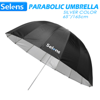 Selens 65 165cm Parabolic Deep Reflective Umbrella Silver Color for Speedlite Studio Flash Indirect Lighting w/ Carrying Bag
