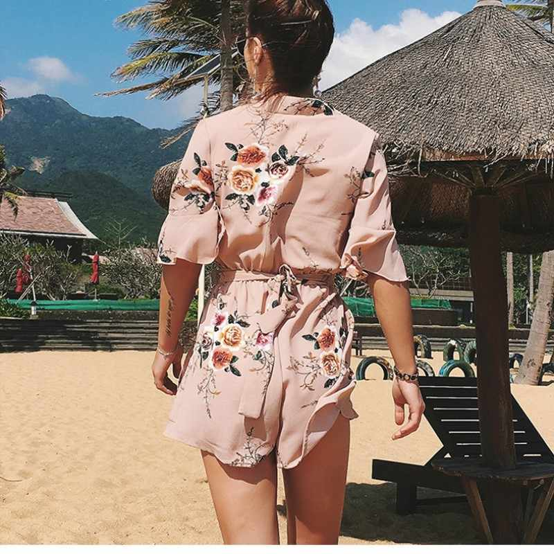 cf3403909d8 ... plus size rompers womens jumpsuit short summer beach overalls ladies  rompers 2018 one piece floral playsuit ...