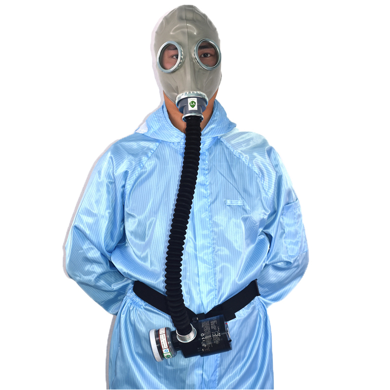 Supply Air Respirator Air Circulator Electric Military Gas Mask With No 3 Carbon 0 5M Tube