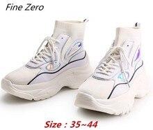 e53d8231f12aa Grzywny Zero nowy wysokiej Top platformy trampki kobiety Glitter buty  śniegu skarpety buty kobieta Unisex tata Chunky trampki Za.