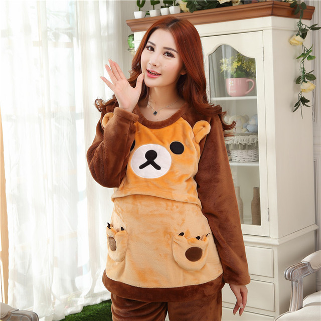 Autumn and winter clothing for pregnant women antenatal postpartum  thick flannel pajamas Home Furnishing breast feeding