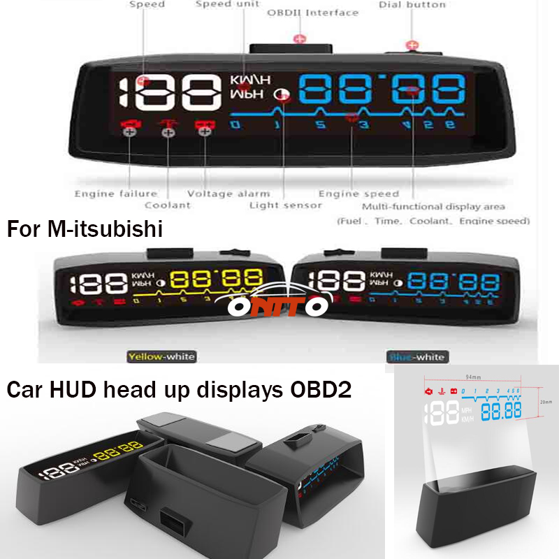 4F For Lancer 10 9 EX Eclipse Galant outlander car head-up display HUD OBD2 Auto emblem Head-up display lamps Good quality universal 3 5 car hud a3 head up display with obd2 interface