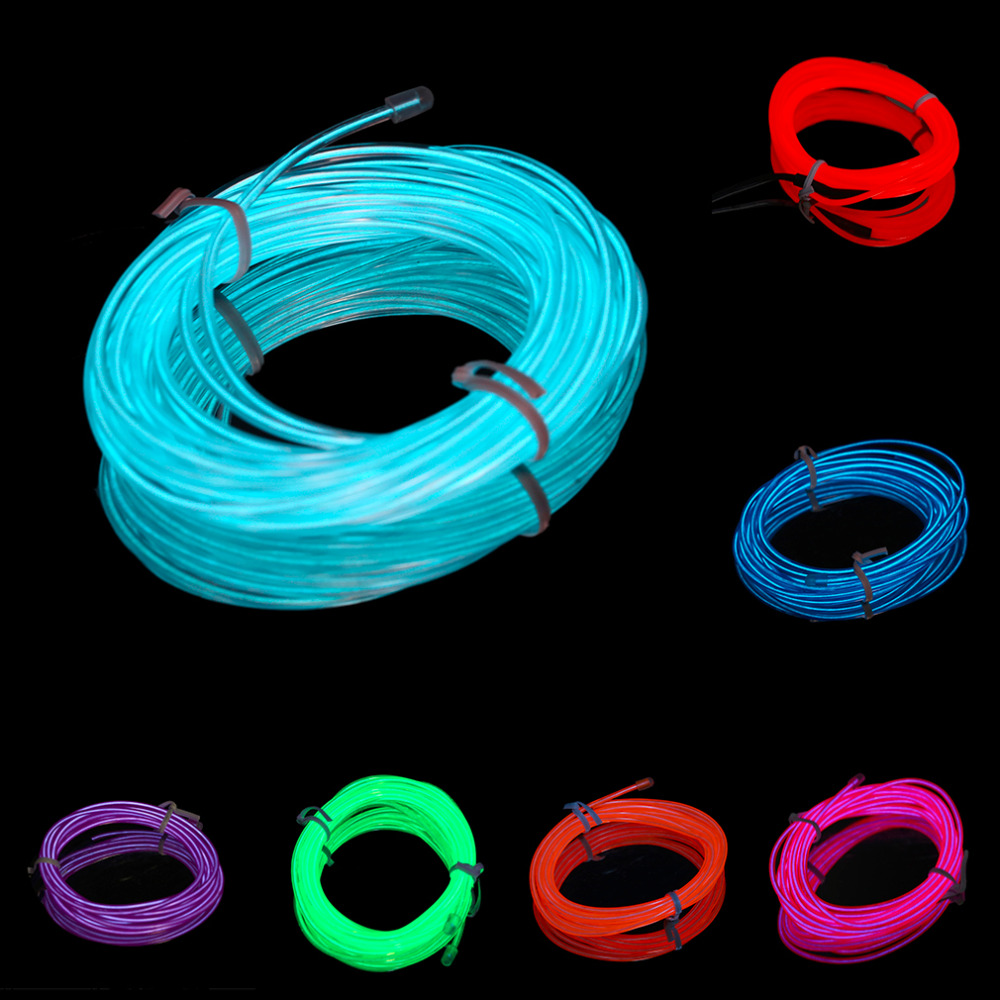 7 Colors 3M font b EL b font Wire Tube Rope Battery Powered Flexible Neon Cold