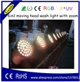 Горячая Распродажа  светодиодные лампы для мытья  RGBWA UV led  движущаяся головка  зум  36 шт.  18 Вт  6 в 1  светодиодное сценическое освещение