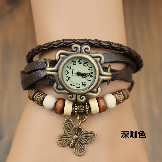 Hot Sales Vintage Cow Leather watch women ladies Fashion butterfly beads dress q