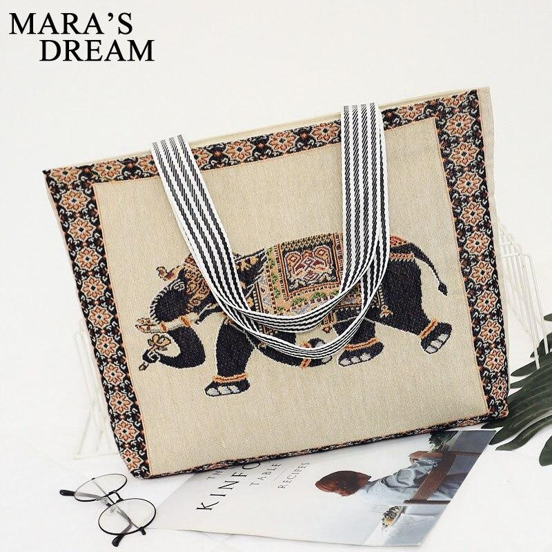 Mara's Dream Women Bag Women's Canvas Handbag Embroidery Owl Tote Lady Shopping Bag Shoulder Bags 2018 Summer Holiday Beach Bags 2