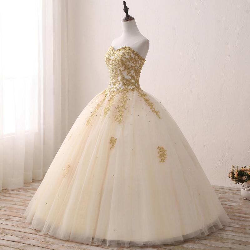 Fansmile Vintage Golden Lace Up Ball Wedding Dresses 2017 Real Photo ...