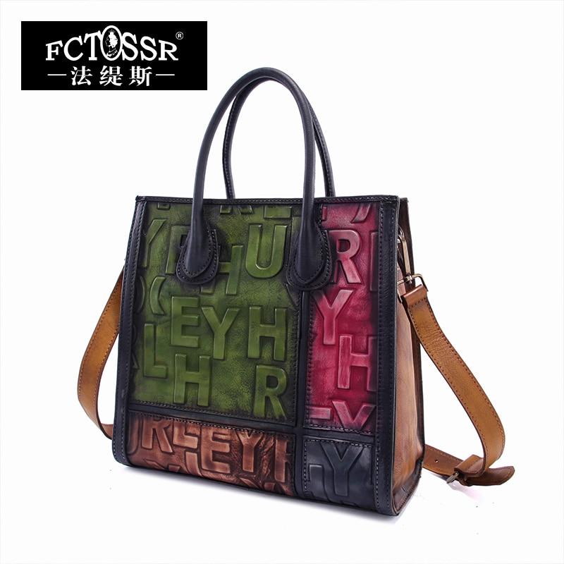2017 Original Genuine Leather Women Top Handle Bag Vintage Color Block Letter Handbag Handmade Cow Leather Shoulder Bag