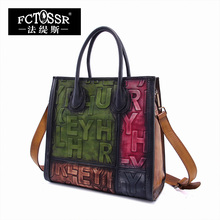 2017 Original Genuine Leather Women Handbag Top Handle Mixed Color Handmade Cow Leather Shoulder Messenger Bag Eglish Letter