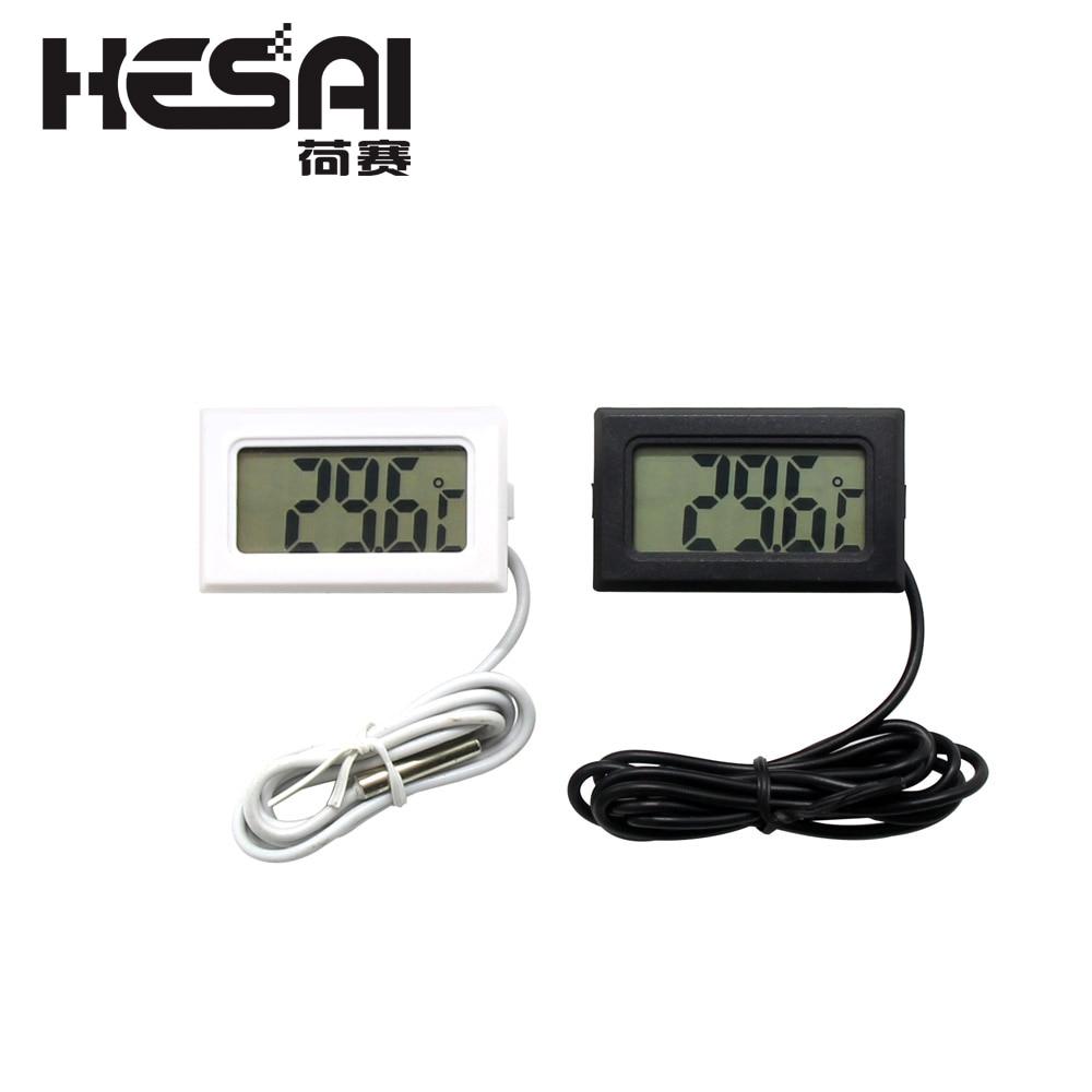 1M Mini LCD Display Meter Digital termometer med svart sensor / vit kyl frystermometer