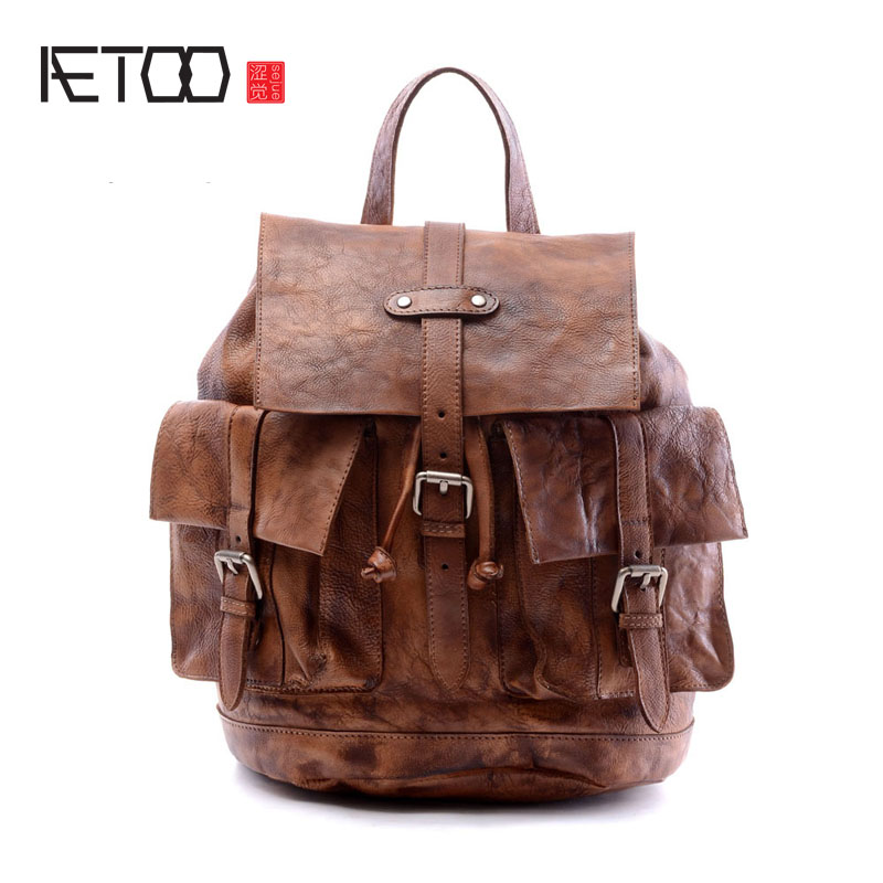 AETOO Make the old hand wipe color tannery men backpack college wind bag original design the little old lady in saint tropez