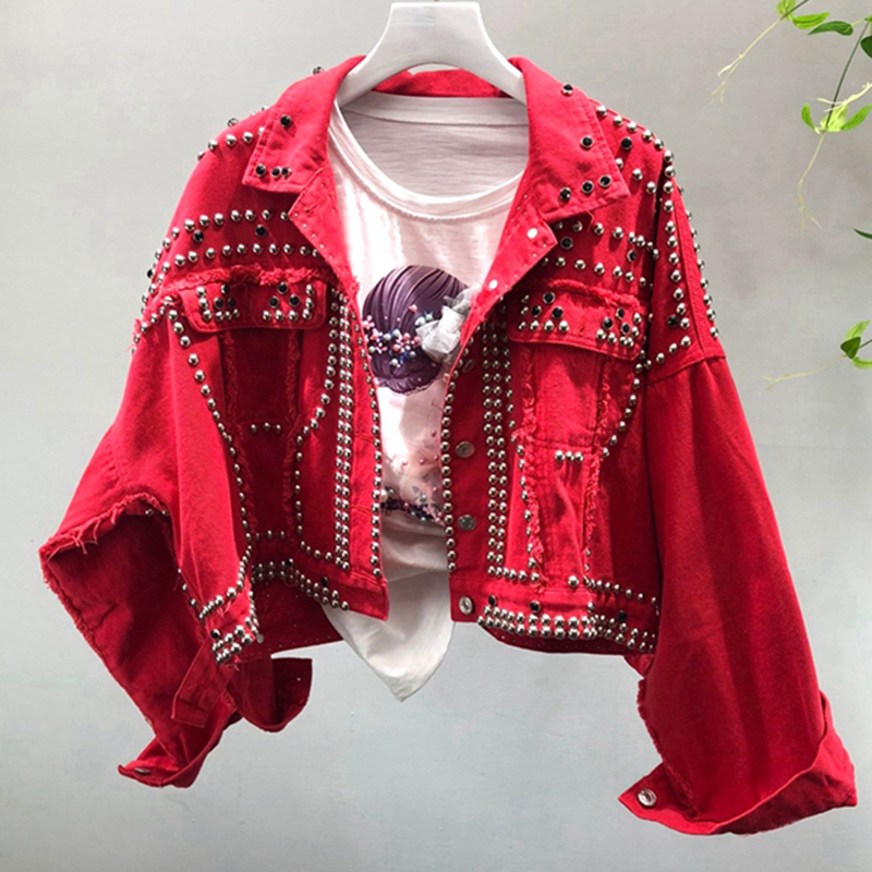 high quality 100% 2019 Autumn Women Casual Basic Jackets Plus Size Rivet Student Red Denim Jean Jackets Long Sleeved Outerwear