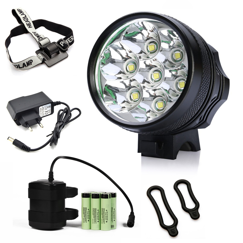 все цены на NEW Bicycle Light 7x CREE XM-L T6 LED Bike Headlight 8400 Lumen Mountain Bike Lamp Fishing Light 9600mAh Waterproof Battery Pack онлайн
