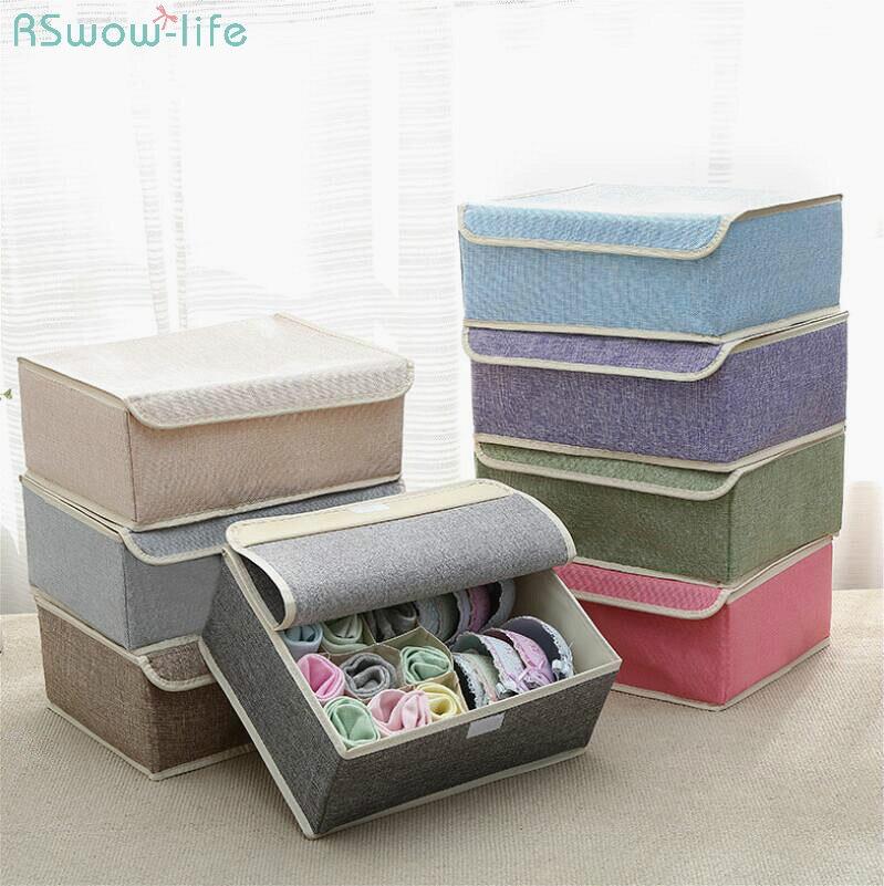 13 Grid Drawer Divider Travel Organizer Houseware Supplies Underware Storage Box Closet Organizers Boxes Bra Case Cotton Linen-in Drawer Organizers from Home & Garden