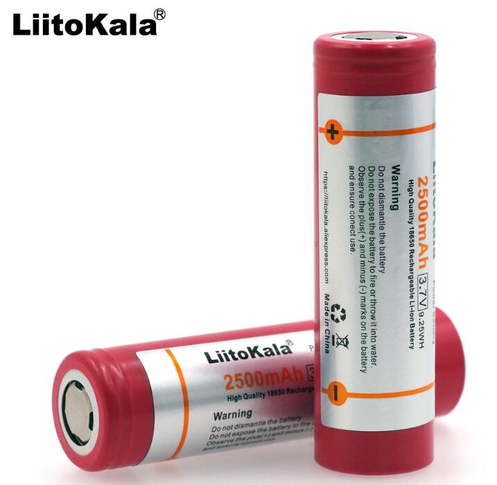 Liitokala 100% Original 18650 3.7V 2500mAh HE2 Rechargeable battery Max 20A 30A discharge For Electronic cigarette batteries