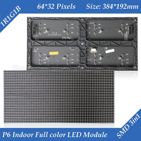 30pcs/lot 384*192mm 64*32 pixels 1/16 Scan 3in1 SMD RGB indoor P6 full color LED display screen module