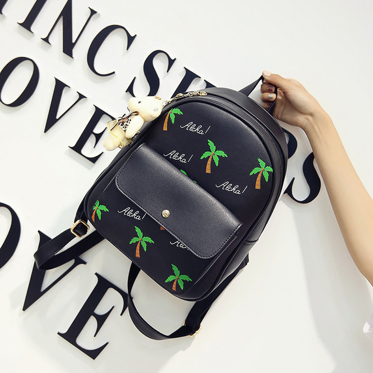 2017 new Korean fashion four piece multi purpose backpack bag personality hit color palm coconut shoulder
