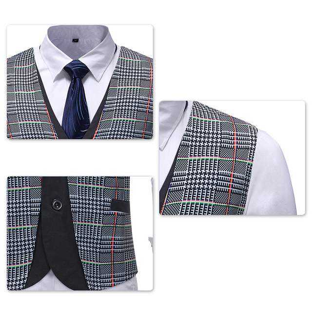 YUNCLOS EU Size Faker 2 Pieces Mens Suit Vests Plaid Printed Slim Fit Men Waistcoat Party Wedding Coletes Chaleco Hombre