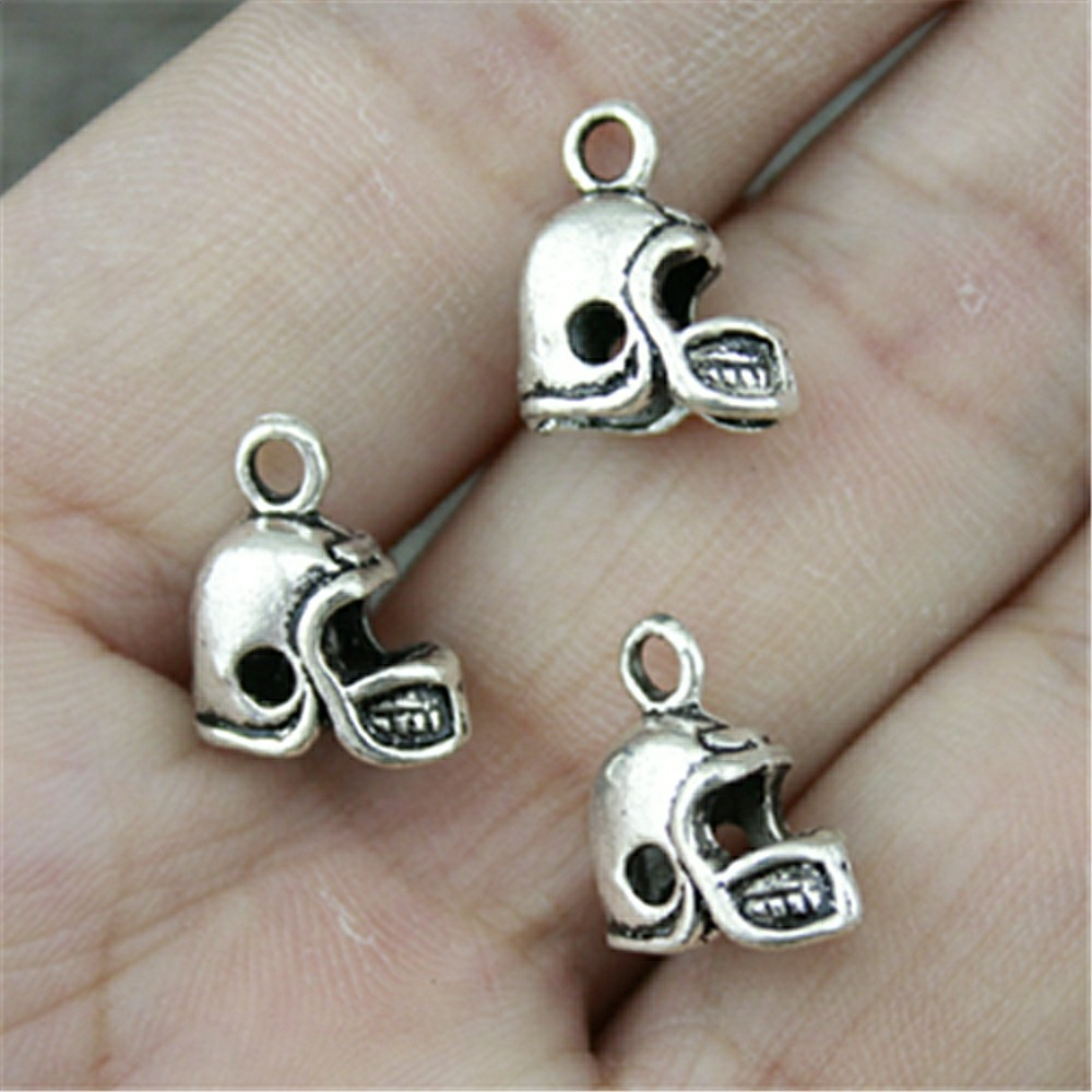 WYSIWYG 5pcs 13x12mm Antique Silver Color Charms Football Helmet Charms 3D Football Helmet Charms