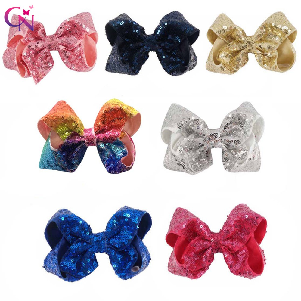 12 Pieces/lot 5 Messy Sequin Hair Bows With Clips For Kids Girls Boutique Bling Plain Ribbon Bows Hairgrips Hair Accessories 5 pieces lot c4040sd