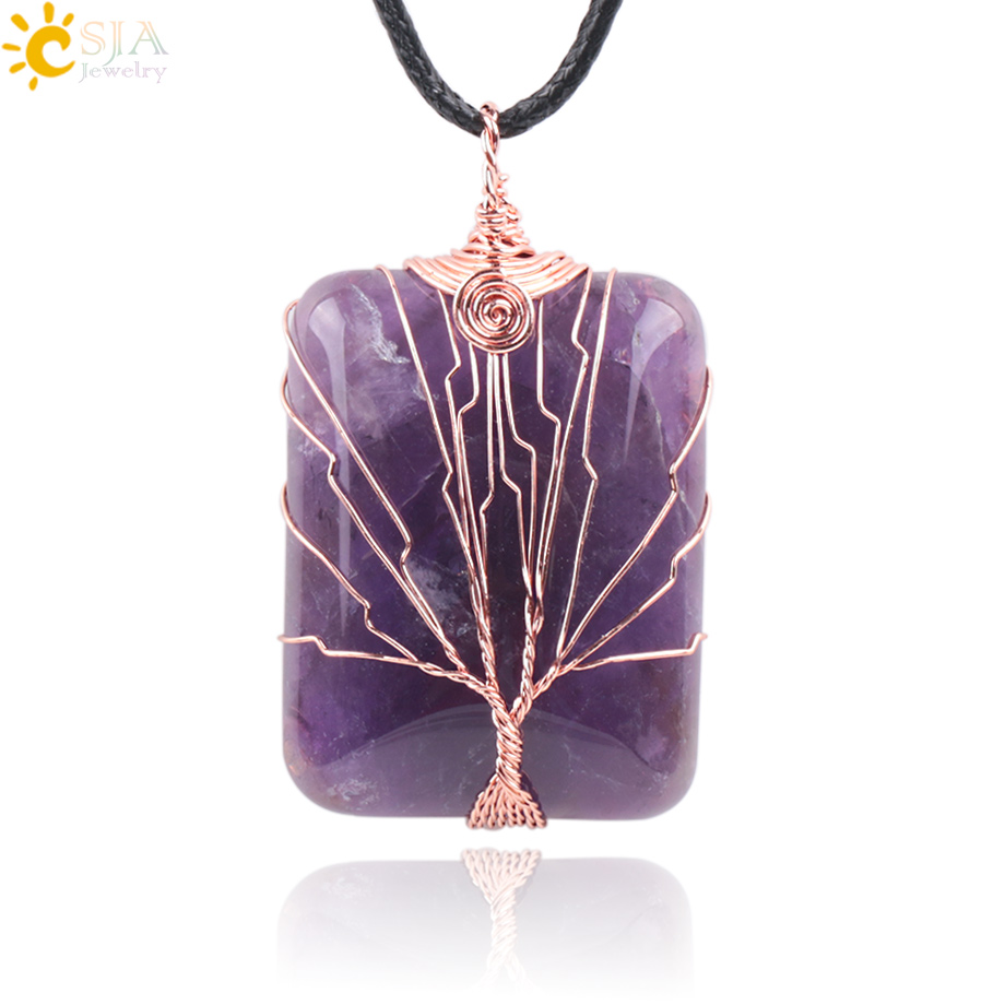 CSJA Handmade Jewellery Online Shopping India Life Tree Lover Reiki Semi Precious Gem Stone Pendants for Necklace Free Rope E224 jewellery
