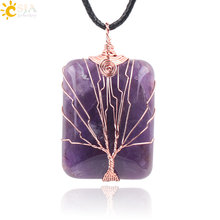 CSJA Handmade Jewellery Online Shopping India Life Tree Lover Reiki Semi Precious Gem Stone Pendants for Necklace Free Rope E224(China)