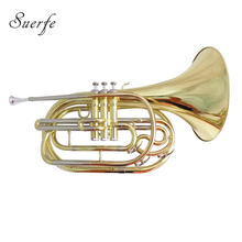 Bb Marching French Horn with Case Mouthpiece Yellow Brass French Horns Musical instruments все цены