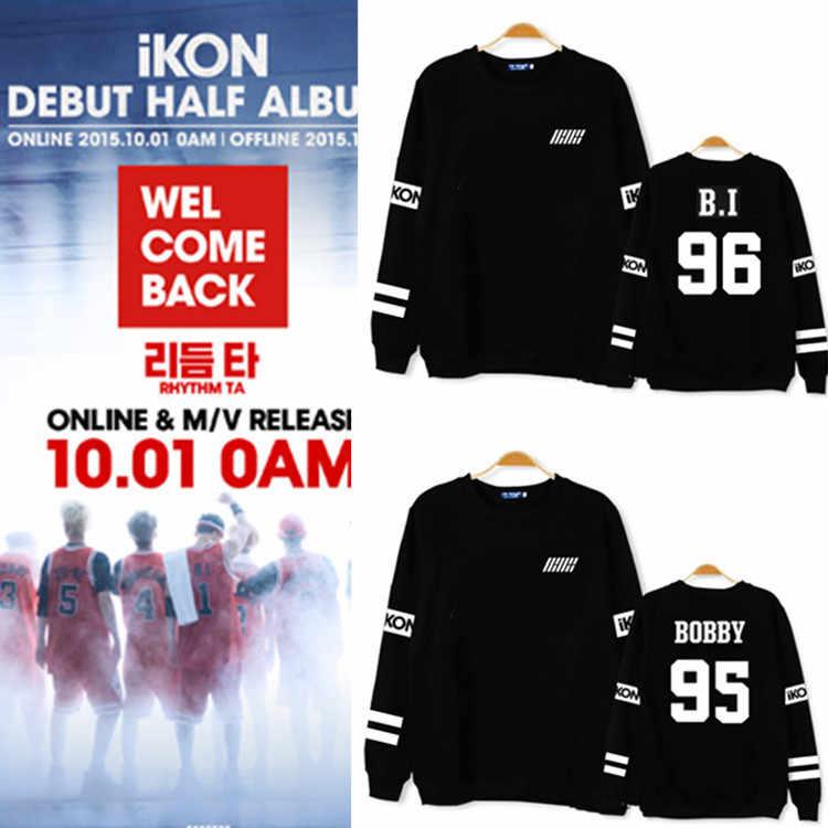 K-POP, ikon Collective Добро пожаловать мой Толстовки с капюшоном K-POP, ikon концерт дебюта толстовки с логотипом черный с длинными рукавами белые толстовки с капюшоном