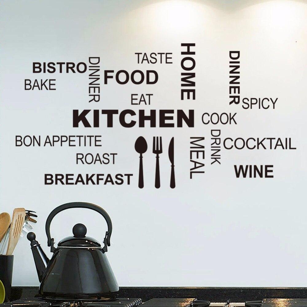 Cocina de pared cotizaciones arte de alimentos pegatinas de pared diy adesivo de