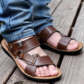 Men's leather beach sandals summer sandals  version of men breathable leather sandals casual slippers non-slip soft bottom