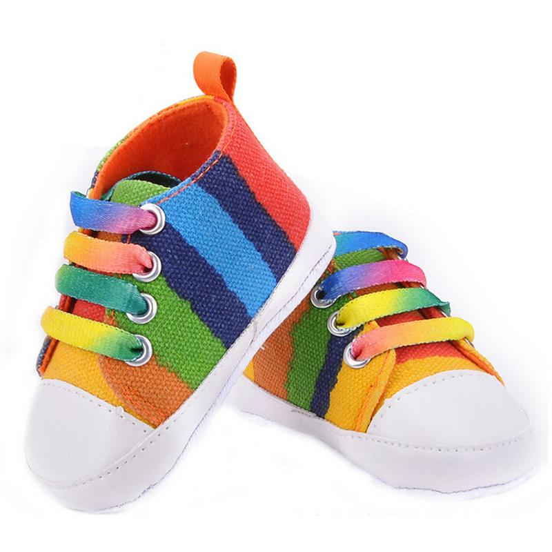 High quality baby shoes girls boys 2016 fashion rainbow canvas shoes soft prewalkers casual baby shoes