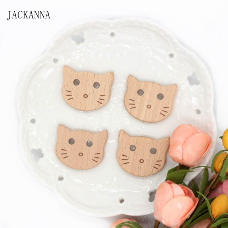 5PCS Cartoon Cat Teether Beads Natural Wood Teether Chew Toys Baby Teethers Newborn Shower Gift Nursing Toy Accessories