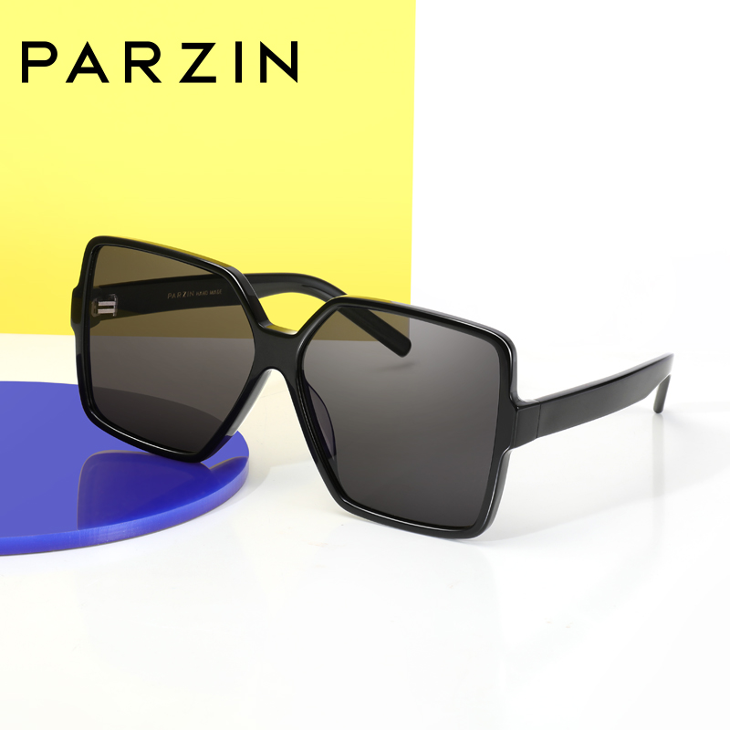 PARZIN Top Quality Trendy Oversize Frame Women Shield Sunglasses Fashion Light Color Lens Sun Glasses 100