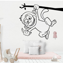 Drop Shipping monkey Cartoon Wall Decals Pvc Mural Art Diy Poster For Kids Rooms Diy Home Decoration Background Wall Art Decal new design englsih sentences cartoon wall decals pvc mural art diy poster for kids rooms decoration decal creative stickers