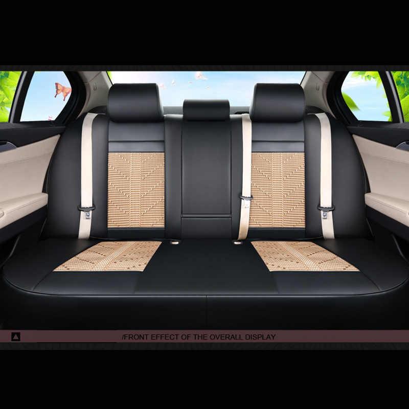 CARTAILOR Auto Stoelhoezen PU leather & Ijs Zijde Custom fit voor Hyundai Veloster Seat Cover Protector Set Auto Zetels Kussen Pad
