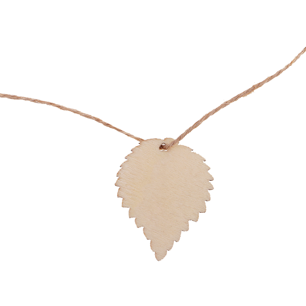 20pcs Leaf Shaped Wooden Tags Laser Cut Crafts Hanging Decor with String