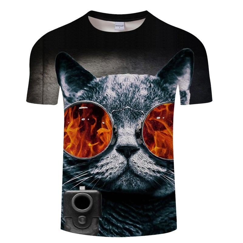 Черная футболка с 3D принтом кота для мужчин и женщин, летняя повседневная футболка с коротким рукавом и круглым вырезом, Топы И Футболки, Забавные футболки, Азиатские размеры S-6XL - Цвет: TXKH3133