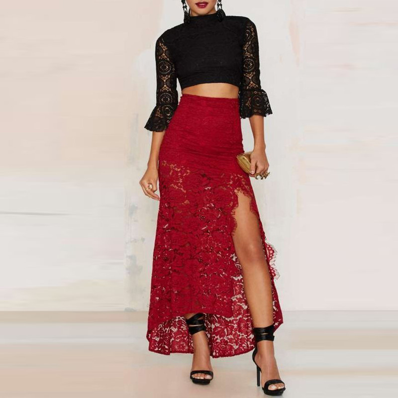 Illusion African Style Red Lace Long Skirts Sexy Side Silt -9559