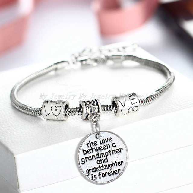 12pc Lot Love Between A Grandmother And Granddaughter Is Forever Charms Bracelet Bangle For Women