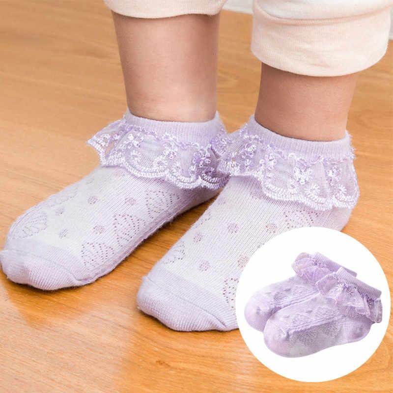 Короткие кружевные носки с цветочным принтом для маленьких девочек хлопковые носки для новорожденных малышей