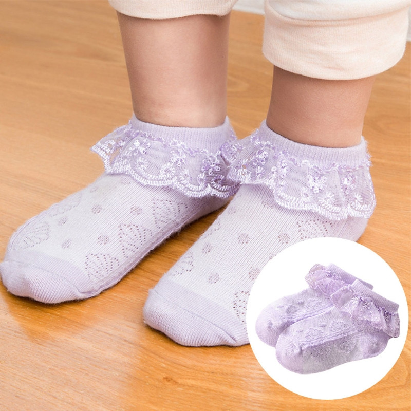 Baby Girls Eyelet Lace Flower Ankle Short Socks Newborn Infant Toddlers Cotton in Socks from Mother Kids
