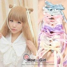 1 пара, очень милая длинная шпилька для лент в стиле Лолиты для девочек, Kawaii, заколка для волос с бантом, AMO, стильная заколка для волос с хвостом свинки