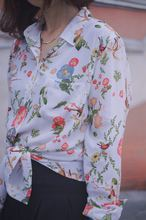 Ladies EQ 100% silk flower bird print women long sleeve shirt women soie blouse spring autumn