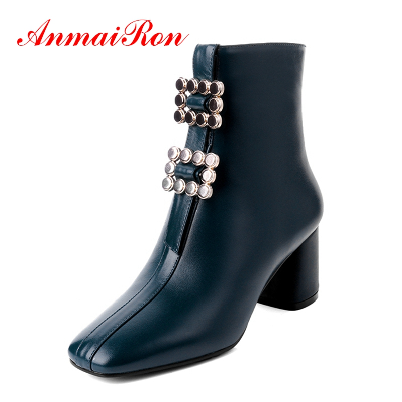 AnmaiRon botines mujer lady solid zipper square toe high heel ankle boots women short boots Big size 34-43 ZYL1245AnmaiRon botines mujer lady solid zipper square toe high heel ankle boots women short boots Big size 34-43 ZYL1245