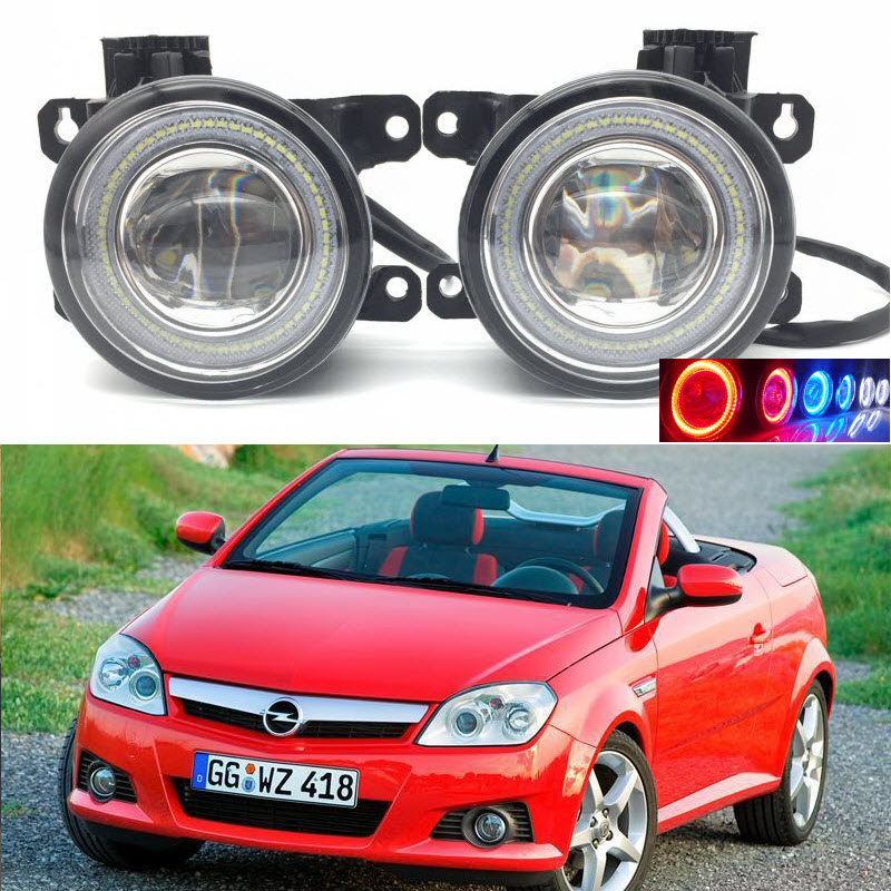 For Vauxhall Opel Tigra TwinTop B '04-2009 2-in-1 LED 3 Colors Angel Eyes DRL Daytime Running Lights Cut-Line Lens Fog Lights 2 in 1 led cut line lens fog lights lamp 3 colors angel eyes drl daytime running lights for toyota corolla verso 2004 2009